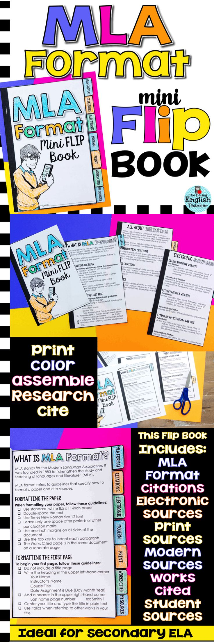 8th edition MLA Format Mini Flip Book for secondary students. Help your students format their papers and cite their sources with this MLA Style guide!