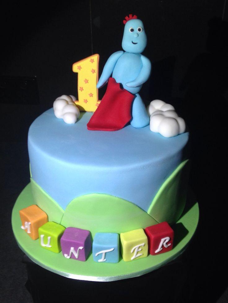 Tall tier vanilla iggle piggle cake with gumpaste iggle piggle & #1