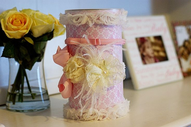 re-purposed oatmeal container, headband and hair band storage