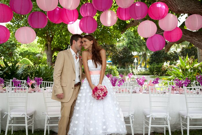 pink lanterns, flowers & more: Pink Wedding, Wedding Parties, Outdoor Wedding, Paper Lanterns, Successful Marriage, Color, Wedding Lanterns, Hot Pink, Destinations Wedding