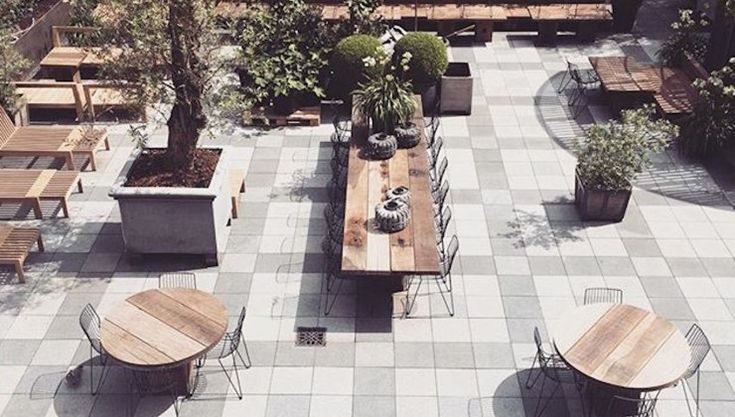 Outdoor terrace at Hotel Skt. Petri in Copenhagen #outdoorfurniture #terrace #designerfurniture