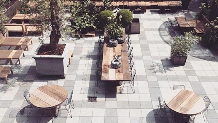 Outdoor terrace at Hotel Skt. Petri in Copenhagen #outdoorfurniture #terrace #designerfurniture
