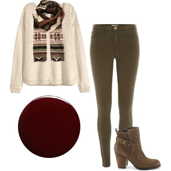 By carnivalofchic Get the Look: H&M Beige Fine Knit Jumper River Island Khaki Jeggings Etro Cashmere Scarf Ivanka Trump Ankle Boots