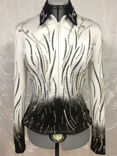 "Black & White Airbrushed Show Jacket by Just Jan, $1,595 : Bust: 38"" Waist: 31"" Hips: 40"" Sleeve: 24.5"" Back length: 22"" Shoulder: 15.5"" This brand new show jacket has stretch."