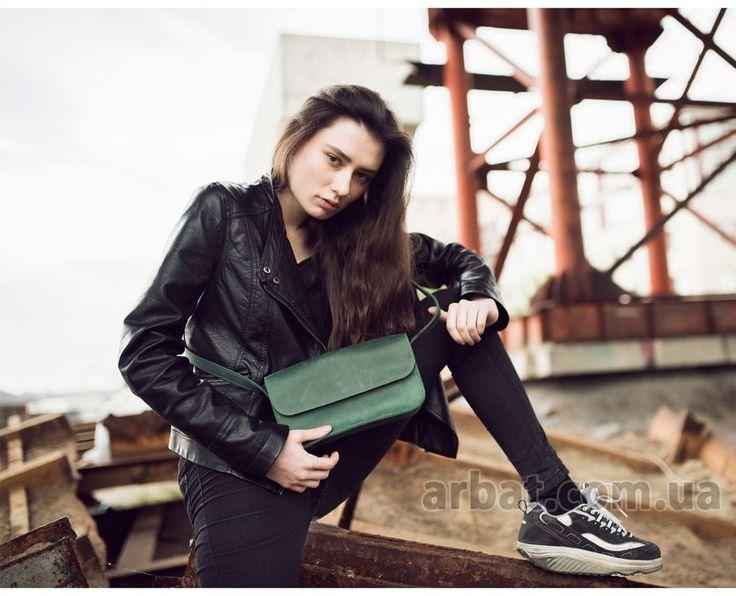 Миниатюрная сумка B029 Зеленая Кожа Украина + Натуральная кожа