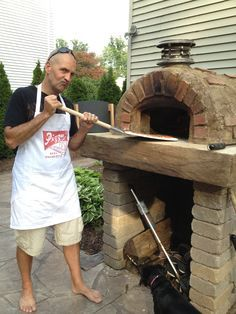 Real Men Wear Aprons! This DIY Wood-Fired Outdoor Pizza Oven was built with the Cortile Barile Pizza Oven Kit from BrickWoodOvens.com