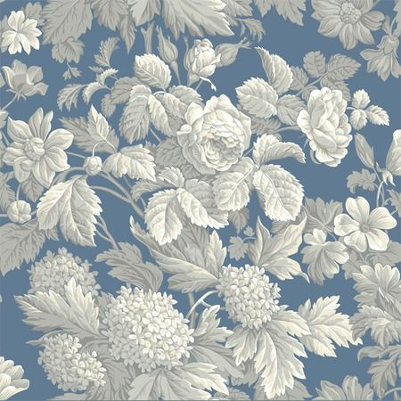 I pinned this Antique Floral Wallpaper in Wedgewood Blue from the French Dressing event at Joss & Main!