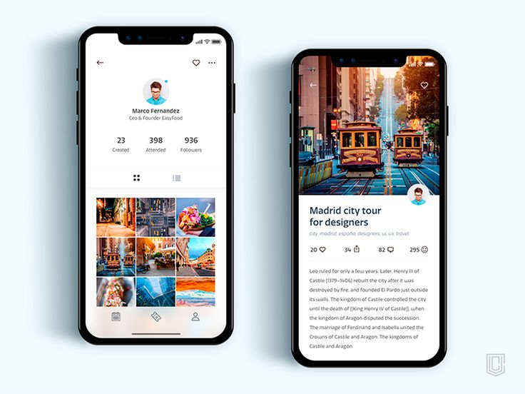 Profile Screen, Event Screen for iPhoneX by Christian Vizcarra