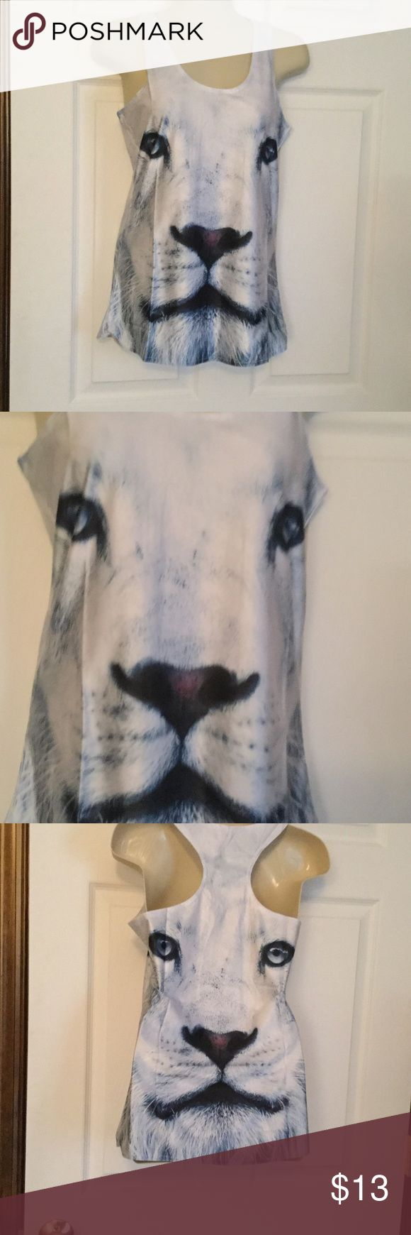 Lion Face Tank Top NWOT One size, but fits more like a s/m.  Soft stretchy material.  NWOT. Tops Tank Tops