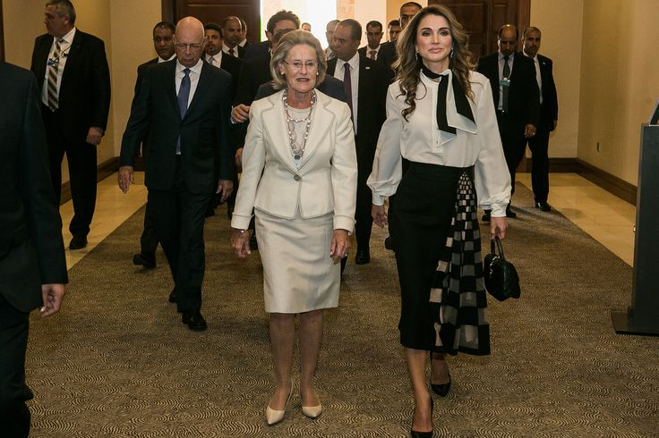 https://flic.kr/p/UYKjbX | Opening Plenary | Hilde Schwab, Chairperson and Co-Founder, Schwab Foundation for Social Entrepreneurship, Switzerland and H.M. Queen Rania Al Abdullah, Queen of the Hashemite Kingdom of Jordan at the World Economic Forum on the Middle East and North Africa 2017. Copyright by World Economic Forum / Benedikt von Loebell
