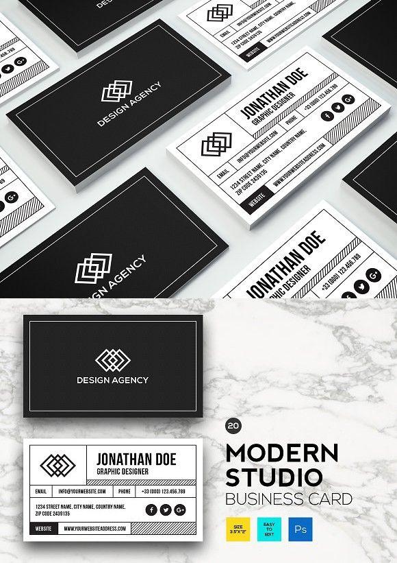 Modern Studio Business Card 20 Business Card Photoshop Double Sided Business Cards Business Cards