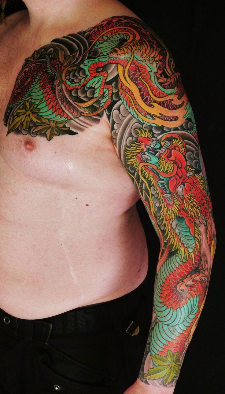 Oriental Ccolored Japanese Dragon Tattoo Design On Left
