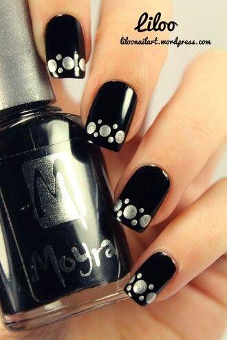 Nails Pretty nails. Incensewoman.  Black with silver dots.  Nail art.