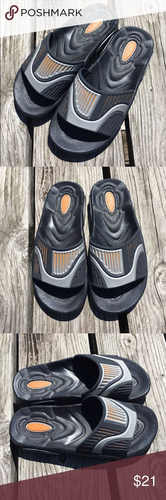 🆕List! Kids Black/Silver Slides! EEUC! Worn once! Boys slides, black with silver and a touch of orange. Grendene Shoes Sandals & Flip Flops