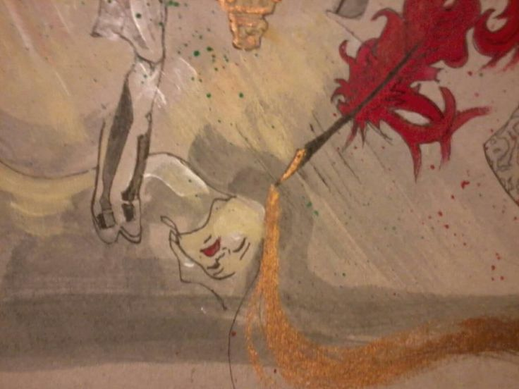 Detail website artwork. watercolour pencil and gold ink