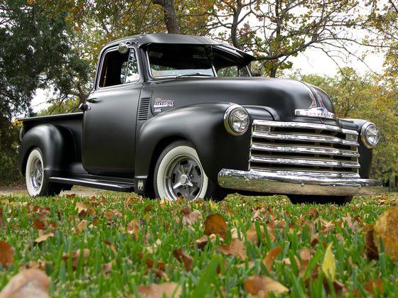 Cool vintage 1952 Chevy Truck, flat black.
