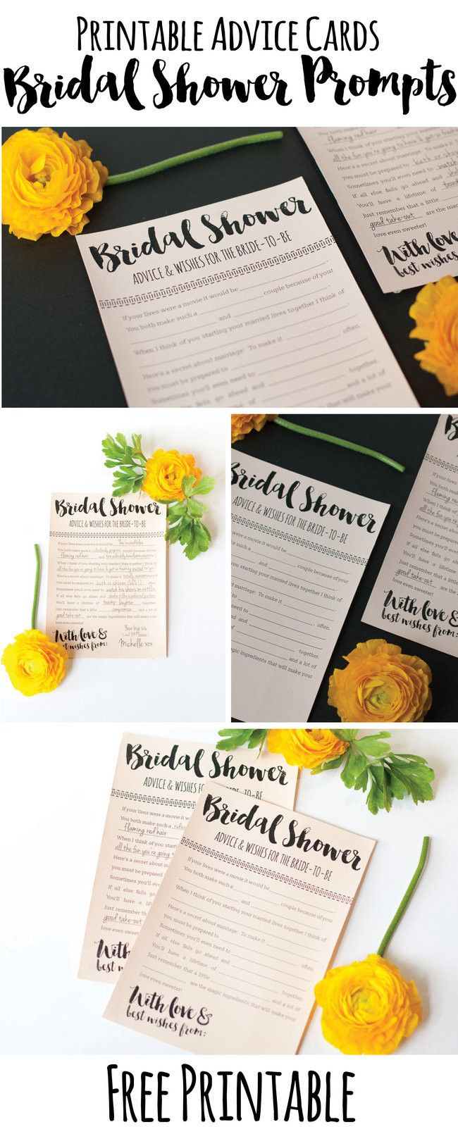 These Printable Bridal Shower Advice Cards are so fun! And it's a free download, yay!: http://www.confettidaydreams.com/bridal-shower-advice-cards-printable/