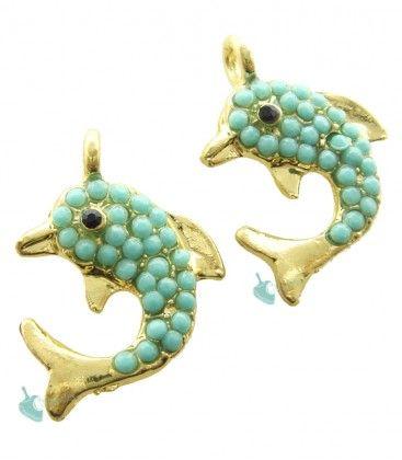 Ciondolo Delfino Turchese 21x15 mm color Oro