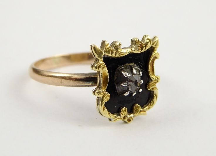 Antique Hallmarked 9ct Mourning Gold Ring Black Enamel and Old Cut Diamond Size N - The Collectors Bag