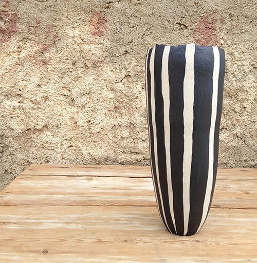 Ceramic vase black and white lines organic design by NearlyBlack, €105.00
