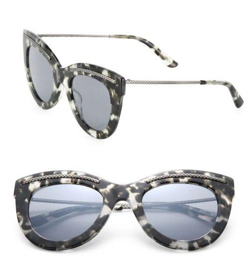 Bottega Veneta 49MM Intrecciato-Trim Cat's-Eye Sunglasses Avana              $59.00