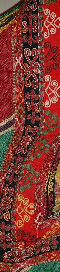 Detail of nomad's silk embroidery, 19th century, from the Karakalpaks (Qaraqalpaqs), a Turkic people who now live mostly near the Aral Sea. (Many rural Karakalpaks have been seriously affected by the desiccation of the Aral Sea, which has destroyed the local fishing industry along with much of the grazing and agricultural land in the north of the delta. Karakalpaks have nowhere to go. The majority of Karakalpakstan is occupied by desert.)