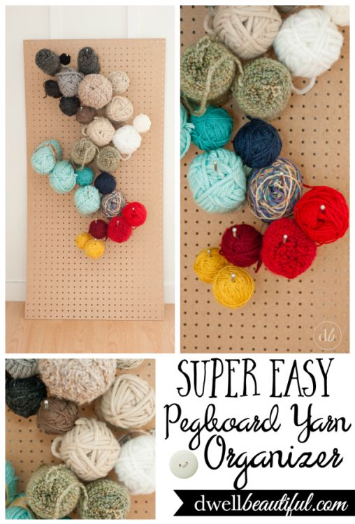 Dwell Beautiful makes a pretty and functional yarn organizer using pegboard and some hooks!   For Squish!