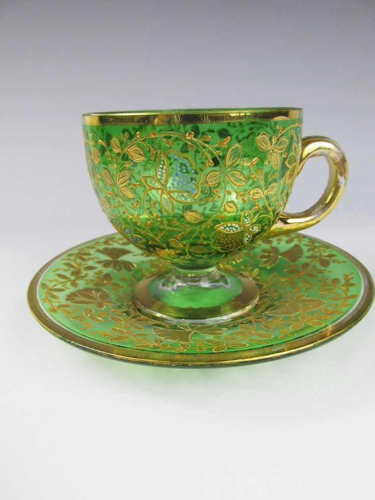 "C1880 Moser Bohemian Green Glass Cup Saucer Fantastic Enamel  ""Exquisite"""