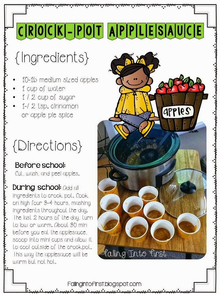 Applesauce recipe for the classroom. The teacher uses a crock pot! Making this with my class!!