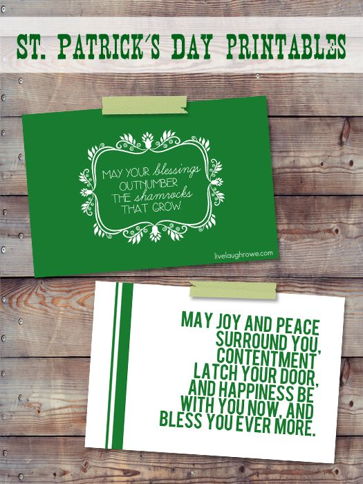 Irish Blessing Printables for St. Patrick's Day with livelaughrowe.com