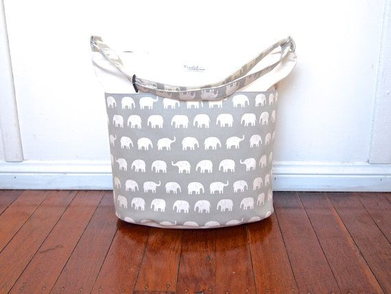 ExtraLarge Diaper or Nappy Bag / Daycare Bag  Gray by piggledee, $135.00