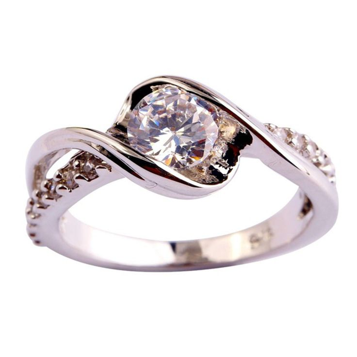 0 Hot sale  Fashion Engagement Gift Round Cut White  Silver Planted Ring Size 6 7 8 9 10 11 12