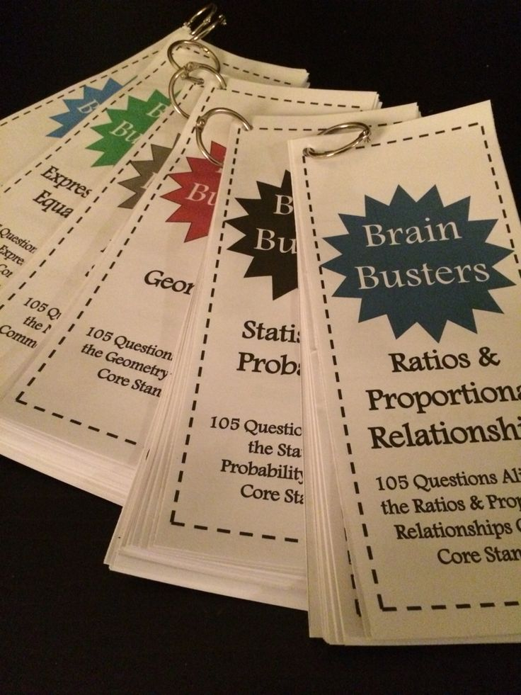 Math Brain Busters Bundle for upper grades! Includes 675 math problems aligned to common core standards. Includes a set for Number Systems, Ratios & Proportional Relationships, Expressions & Equations, Geometry, Statistics & Probability, and a variety pack. Easy to print, cut, hole punch, and clip together! Great for math centers or for students who are finished early!