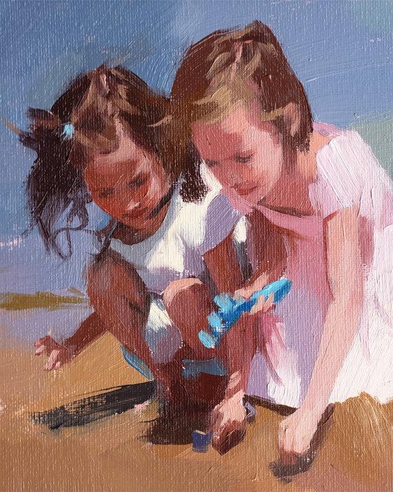 custom figure portrait oil painting color sketch - 9 x 12