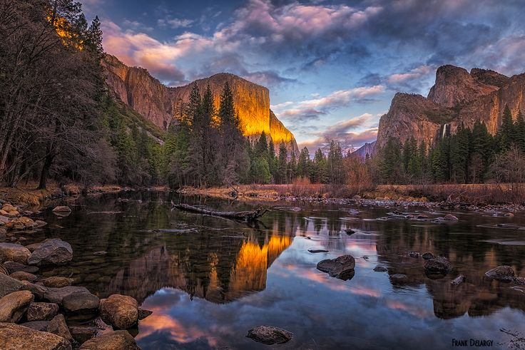 valley sunset - Sunset at an iconic location in Yosemite Valley. It was hard to keep focused on photography with the splendid view and wonderful freshness in the air. Thanks!