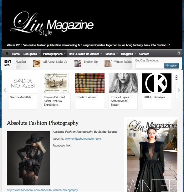 My profile and photography work published on LIV STYLE MAGAZINE. Perfect way to start the week. Thank you Liv Style Magazine !!