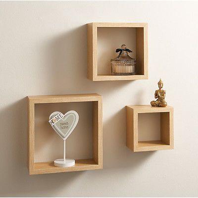 V floating cube shelves set of 3 shelves wall mountable