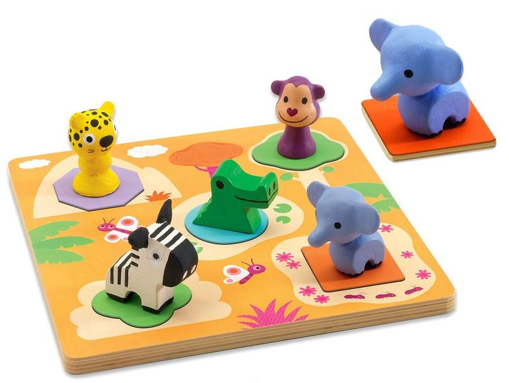WILD ANIMAL KNOB PUZZLE - 5PCE   This charming wooden puzzle contains colourful, easy to hold animal puzzle pieces. An attractive toy presented in a pretty box for easy storage.