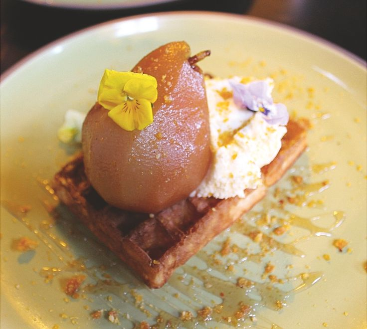 Toasted waffle & poached pear at Glass Merchants, Balaclava. Hits the spot. Photo by Luke Henriques-Gomes.