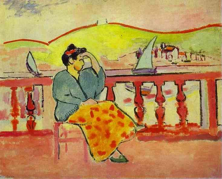 Lady on a Terrace, 1907, oil on canvas, Hermitage, St. Petersburg, Russia. Fauvism, Henri Matisse (1869 - 1954).