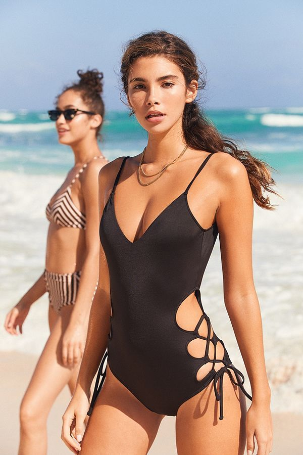 Out From Under Jules Split Side Lace Up One Piece Swimsuit One Piece Swimsuit One Piece Cindy Mello