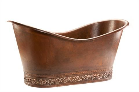 1702mm Hammered Copper Double Slipper Bathtub with Scroll Base and Nickel Inlay