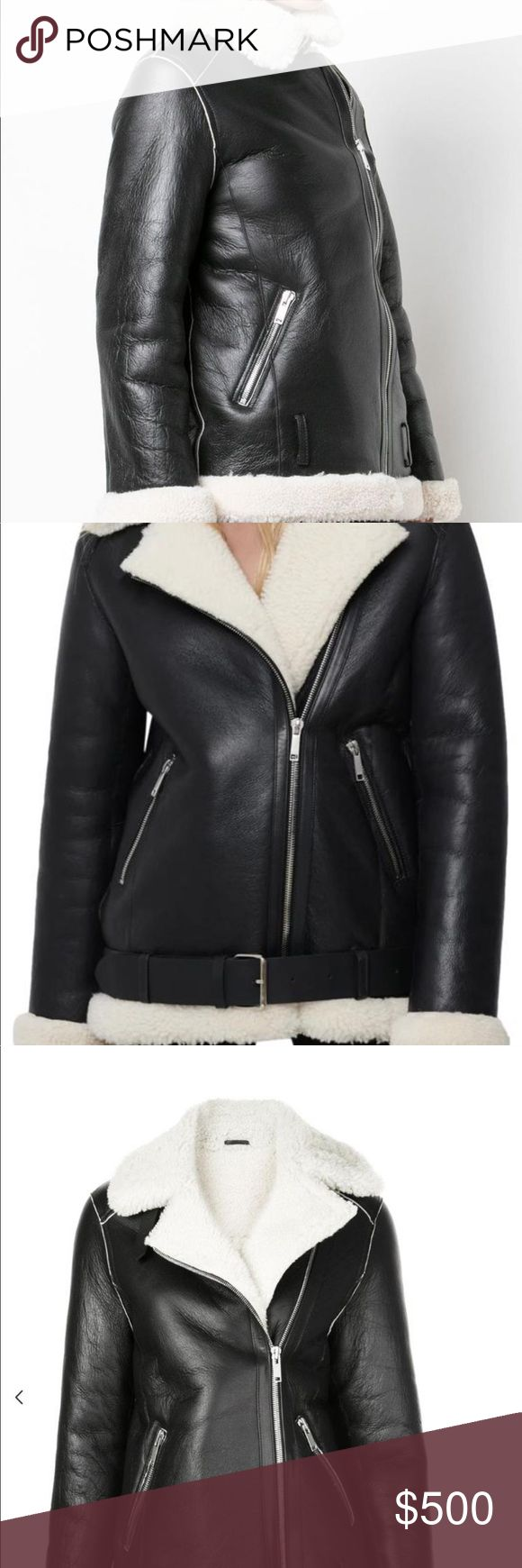 GENUINE shearling and leather jacket jacket so