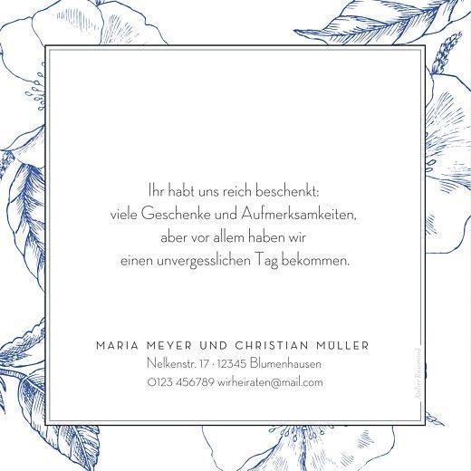 Dankeskarten Hochzeit Floralie blau von Mr & Mrs Clink für Rosemood.de #Dankeskarte #Hochzeit #Hochzeitskarte #Braut #Bräutigam #Trauung