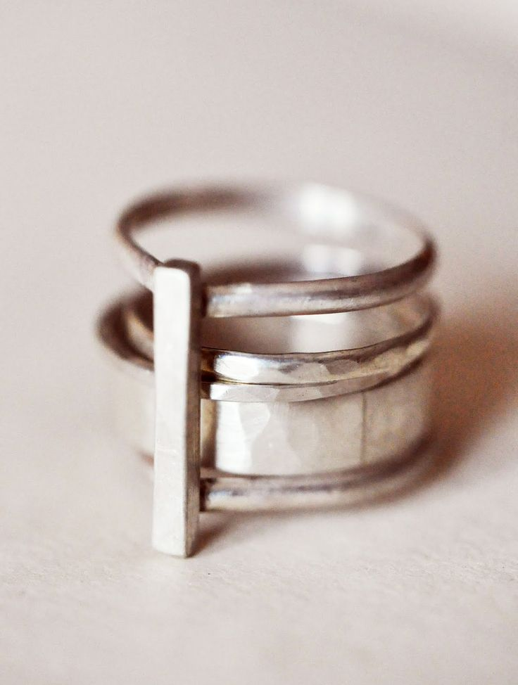 4 Piece Stacking Silver Ring