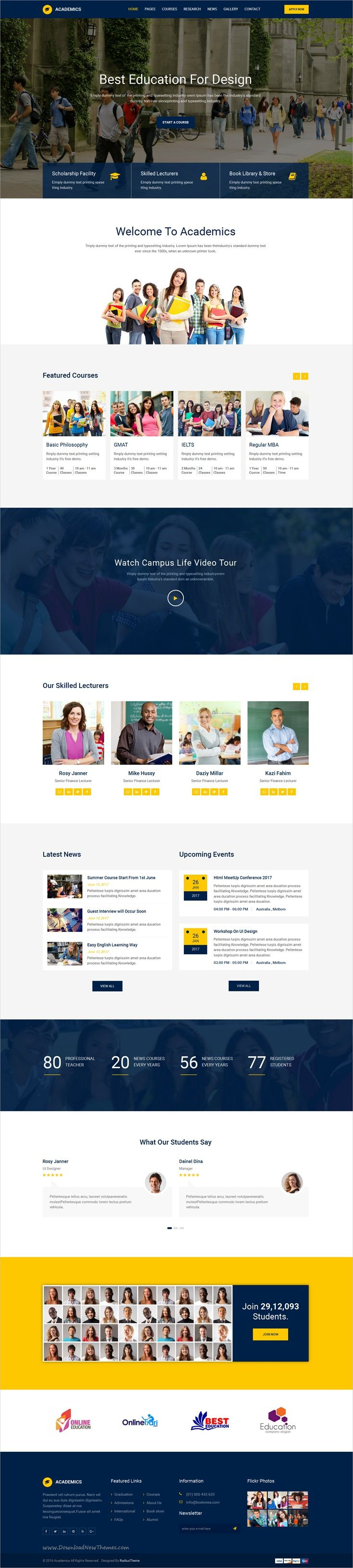 Academics is a clean and modern 4in1 responsive #HTML5 bootstrap #template for all kinds of #Educational center like School, College, University & Training center websites download now➩ https://themeforest.net/item/academics-education-html-template/19292045?ref=Datasata