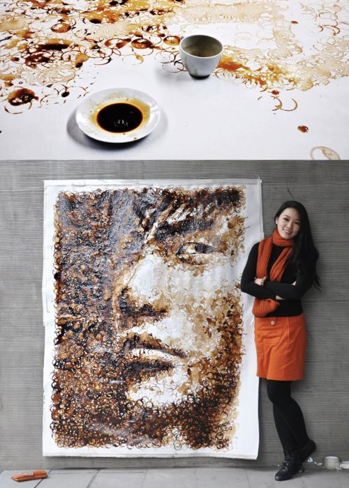 """""""Coffee is quite a challenging medium to use - too little water and the rings wouldn't form easily, too much water and the rings would blend into each other, resulting in just a deformed pool of coffee. I had to also wait for the lighter parts to dry up before stamping on the darker rings, or else the rings would not be visible.""""-Hong Yi, from her blog (which includes other fun, unconventional artmaking); http://www.ohiseered.com/ Making-of video; http://youtu.be/VOfePvzW1ts"""