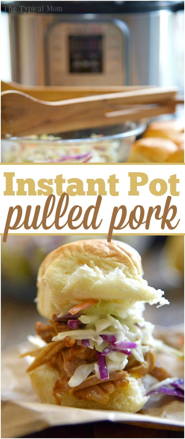 Easy Instant Pot pork shoulder recipe you will love. Amazing barbecue pulled pork sandwiches made in your pressure cooker that even my little one loves. via @thetypicalmom