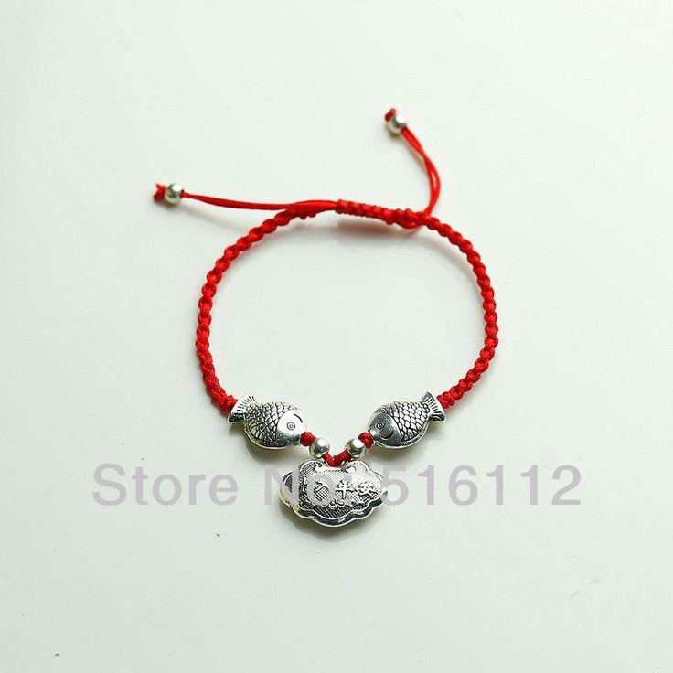 Ручной Красная Строка серебряные браслеты Перегружается Любителей Трикотажные Браслет Тед Ручной веревка рыба серебряные браслеты FX-SL-111