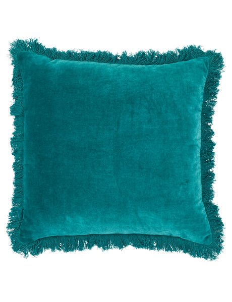 Your Home And Garden Taniko Fringe Cushion, Teal - Lounge Cushions & Throws